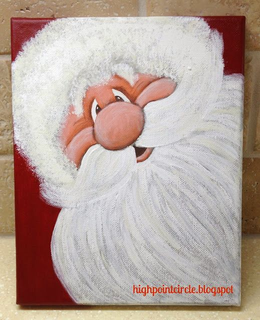 Hand painted Santa Face. High point Circle