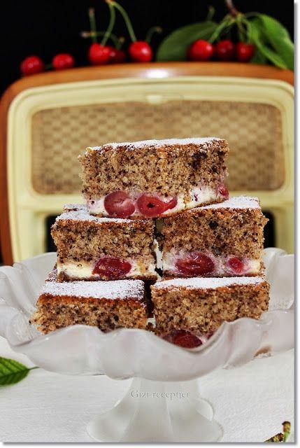 Gizi-receptjei. Várok mindenkit.: Cseresznyés-sajtkrémes sütemény.