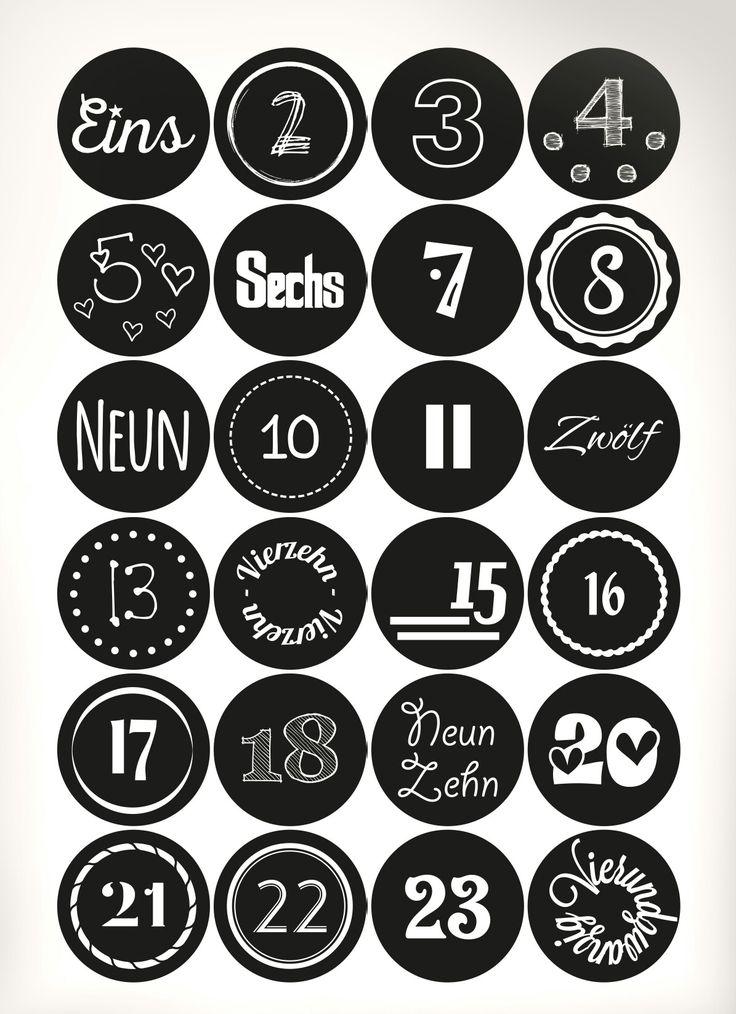 adventskalender nummern 1 24 doityourself schwarzwei. Black Bedroom Furniture Sets. Home Design Ideas