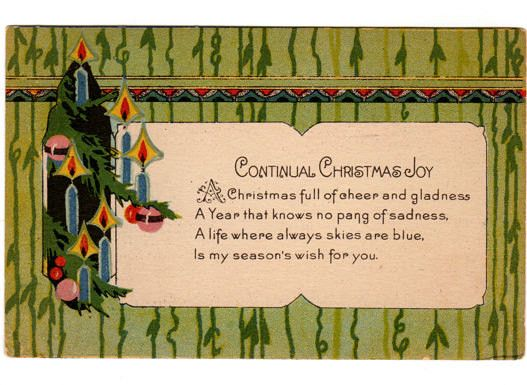 Vintage 1920's Art Deco Christmas Postcard, Candles and Christmas Ornaments, Holiday Greeting
