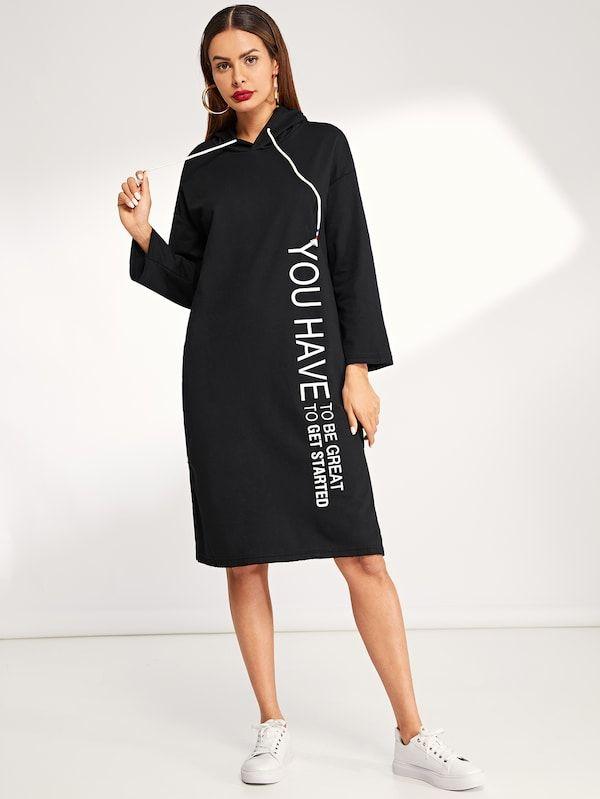 38afa54177fac Letter Print Drawstring Detail Hooded Dress -SheIn(Sheinside) | cut ...