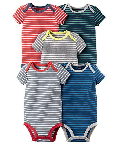 William Carter Baby Boys  5 Pack Colored Bodysuits (Baby) Stripes ... 2708dd35c4f3
