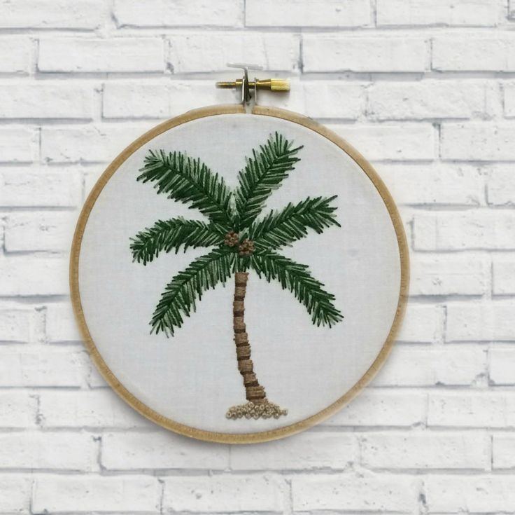Palm Tree Hoop Wall Art - Hand Embroidered - Home Decor - Gift for Her - Palm Tree Decor by thegirlystitch on Etsy
