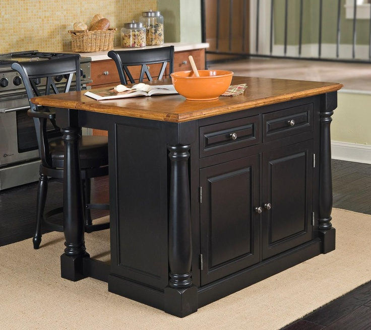 Monarch Black And Oak Kitchen Island Set With Two Stools