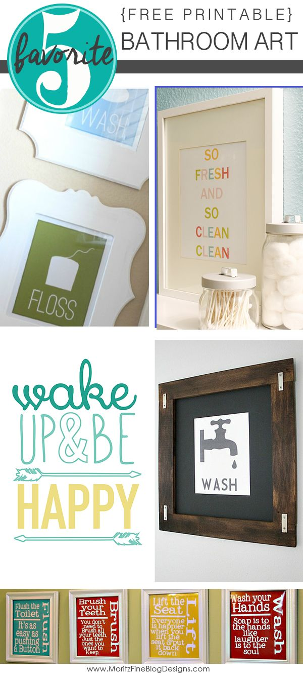 Bathroom wall art for kids - Free Printable Bathroom Art
