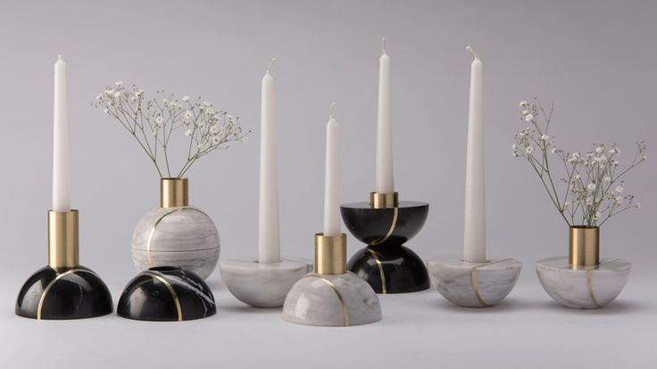 Marble candle holder by Peca can be split to create two objects.