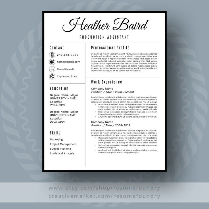 Bold And Modern Resume Template For Word, 1-3 Page Resume