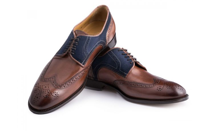 Derby Wingtips with contrasting brown antique Italian leather and blue suede