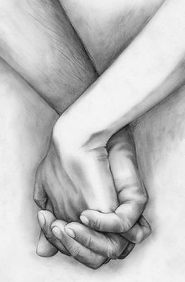 #Large framed print - pencil sketch drawing of a couple holding #hands #(picture), View more on the LINK: http://www.zeppy.io/product/gb/2/221900933040/
