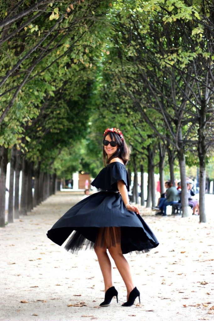 Fifteen minutes of fame. Our little black dress worn by Ana during Paris Fashion Week.