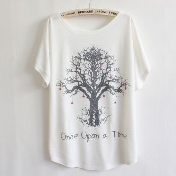 Мода любовь дерево печати хлопка футболку женщин свободные Топы Блузки короткий рукав
