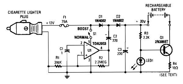12vdc Mobile Battery Charger Circuit Diagram Can Delivers Up To 20 V Output From The 12v Car Powe Mobile Battery Charger Mobile Battery Battery Charger Circuit