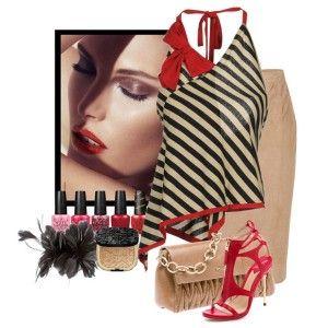 С чем носить красные босоножки: полосатая блузка, бежевая юбка-карандаш, сумочка в тон