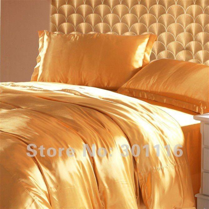 l'expédition libre 4pcs refroidissent le couvre-lit en soie imité /duvet cover/BLANKETS de la literie 100 d'or d'été