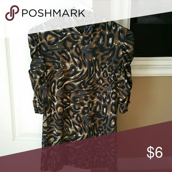 Women's Animal Print Shirt. Women's Animal Print shirt.  Bunched sleeves.  Mock neck.  Bundle for discounts. Tops Blouses