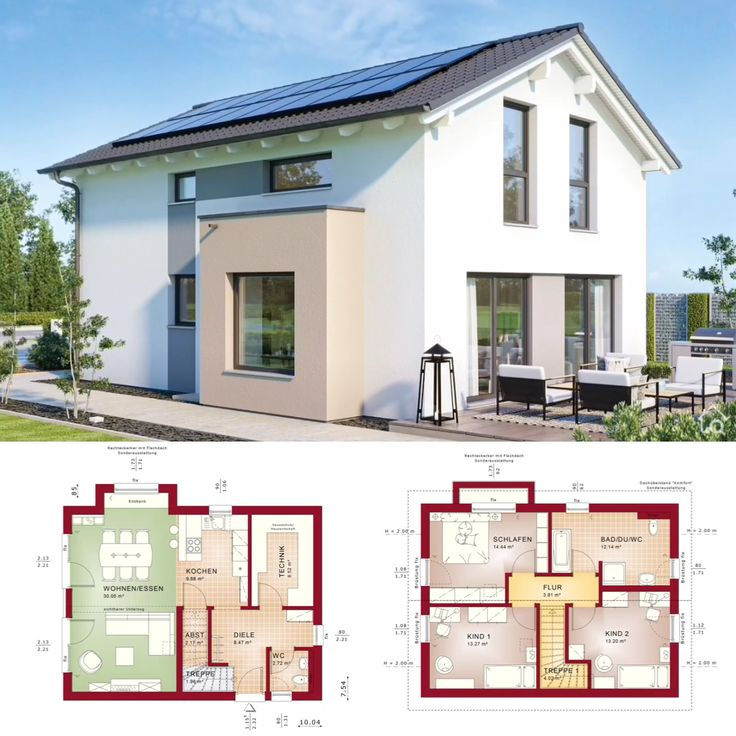 Modernes Einfamilienhaus klassisch mit Satteldach und