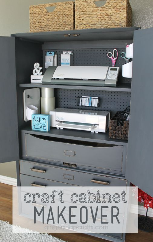 Craft Cabinet Makeover at GingerSnapCrafts.com