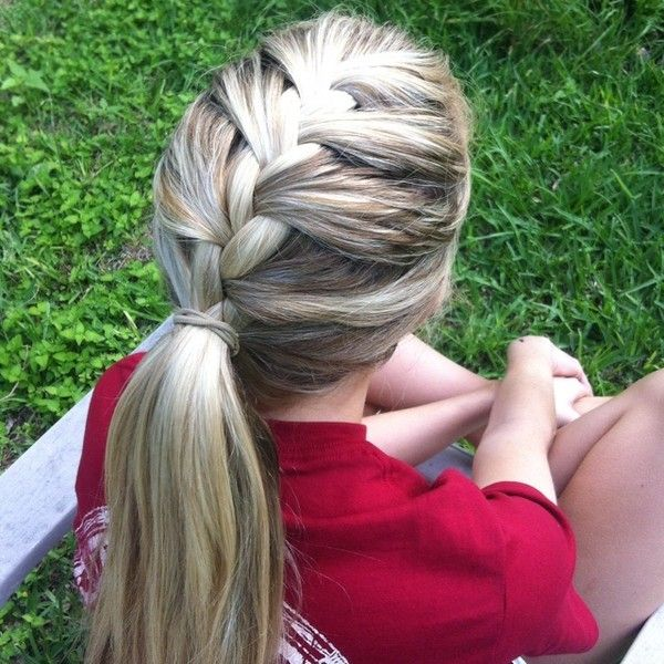 Braided pony, great for soccer games. ❤ liked on Polyvore featuring accessories, hair accessories, hair, hair styles and hairstyles