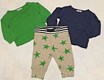 Lot of 3 Baby Boden Boys Pants & Tops Size 0-3 Months