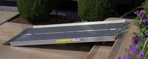 Portable ramps for stairs or steps.