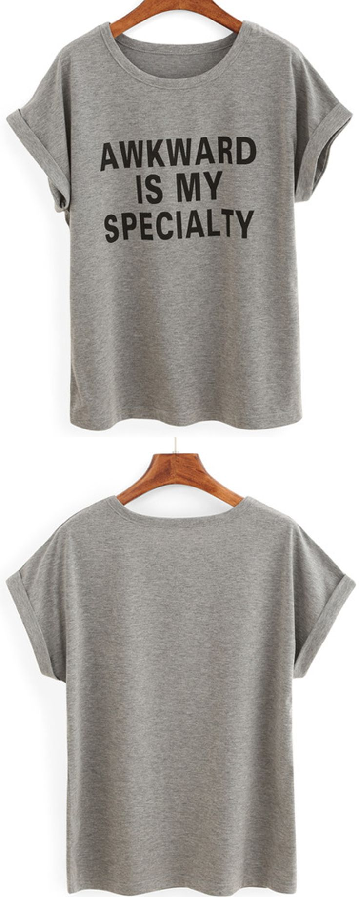 Teens. Classic slogan tees are perfect for laid back looks. Try this grey Grey Letters Print Cuffed T-shirt with denim shorts and sandals this season.