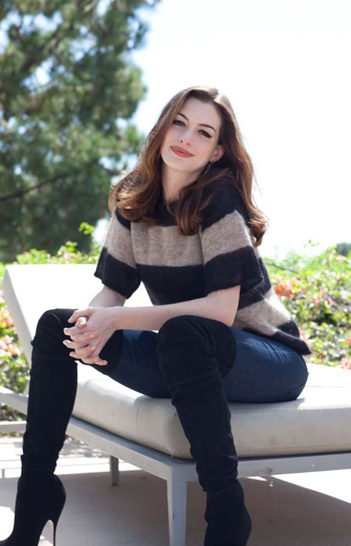Anne Hathaway - High Black Boots, Jeans, and Tan&Black Block Stripe Sweater  Top