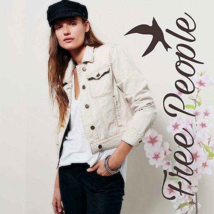Free People Kiel White Bone Wash Fitted Denim Jean Jacket S $64.98 + Free Shipping! #FreePeople #bohemianstyle #bohemianstyle #boho