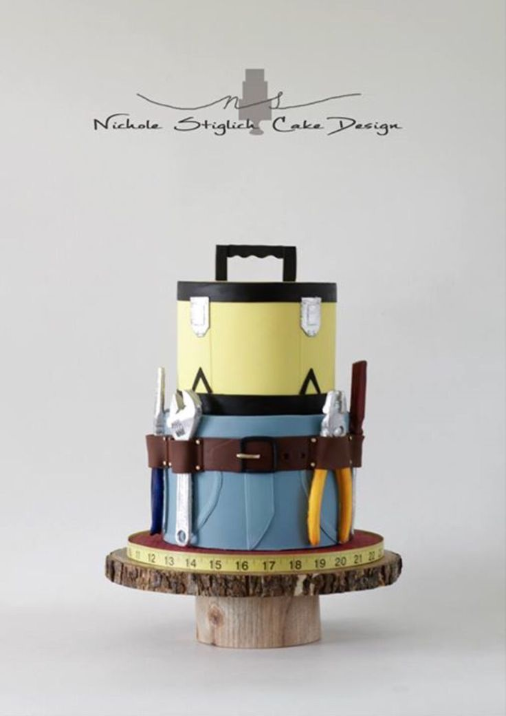 Toolbox tool belt baby shower cake. Tools made with composimold