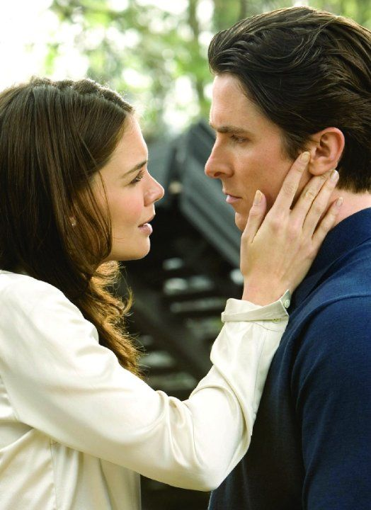 Still of Christian Bale and Katie Holmes in Batman Begins (2005)