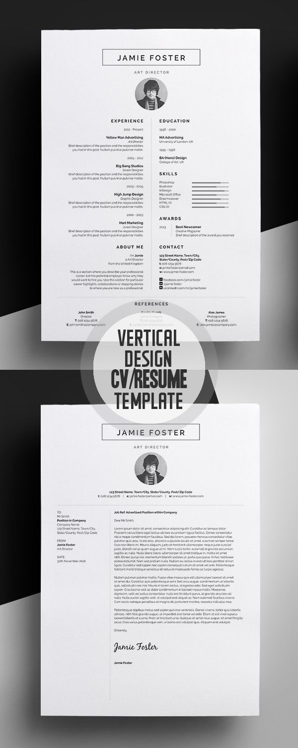 Beautiful Vertical Design CVResume Template 444 best