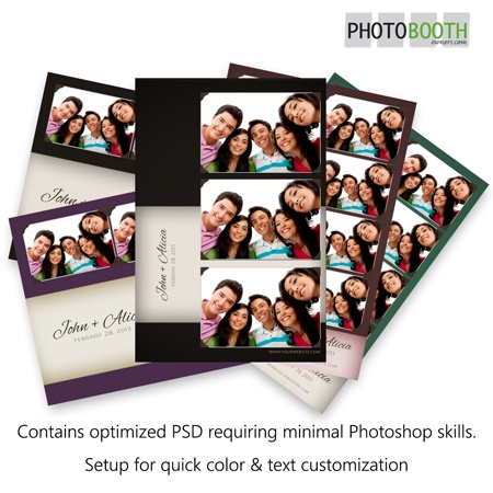 A set of photo booth templates based on a subtle fabric background with a stylish band for the event information. Each photo is framed with a thin border and appear to be held in place by 4 photo holders. A a soft drop shadow gives each photo a feeling of dimension. $29 for individuals, $59 for all 3 layouts.