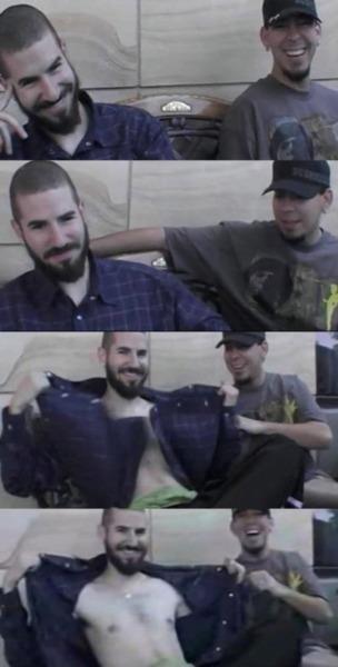 Brad Delson and Mike Shinoda goofing around - Linkin Park