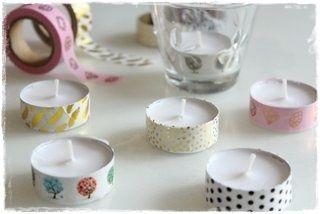 Washi pásky a čajové svíčky = Home Decor