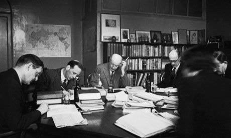 A legacy to be proud of ... the board of directors meets at publishing house Faber & Faber in 1944. From left to right: TS Eliot, Morley Kennedy, Geoffrey Faber, W J Crawley, Richard de la Mare and Miss C B Sheldon. Photograph: Felix Mann and Kurt Hutton/Picture Post/Getty Images