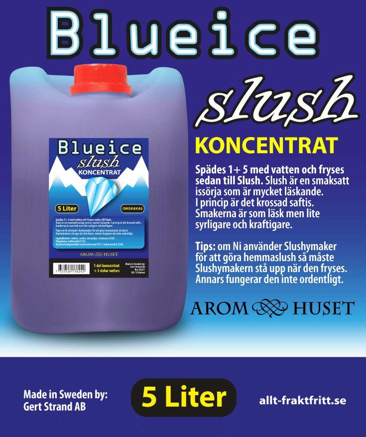 Slush Koncentrat Blue ice Aromhuset Slush Koncentrat Blue ice för att göra egen slush.  Avsett för alla muggar och slushmaskiner oavsett fabrikat.  Rekommenderad dosering är 1+5. 1 del koncentrat + 5 delar vatten, eller efter egen smak. Aromhuset Slush Koncentrat med smak som det ska smaka.