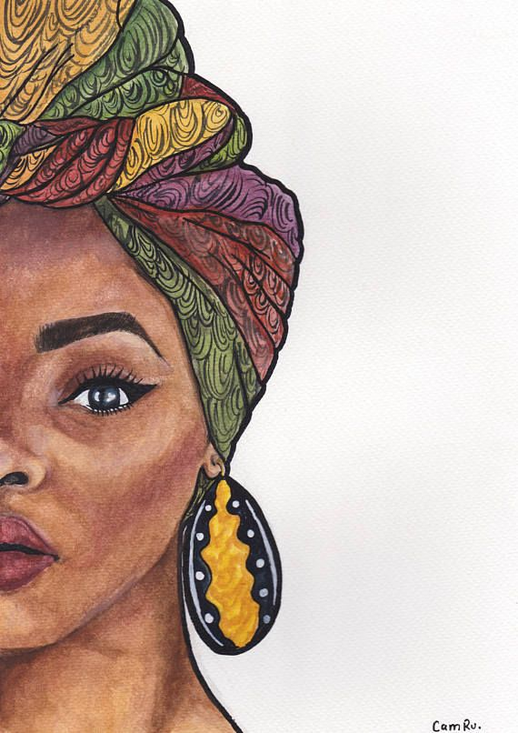 Duku Queen Vibrant Watercolour painting (**PRINT**) of beautifully endowed woman with a Duku /Dhuku on. A longstanding part of African tradition, Duku /Dhuku is the name used by many African countries for head wrap. **PLEASE NOTE FRAME AND MOUNT ARE NOT INCLUDED** SIZE : A4/ Width