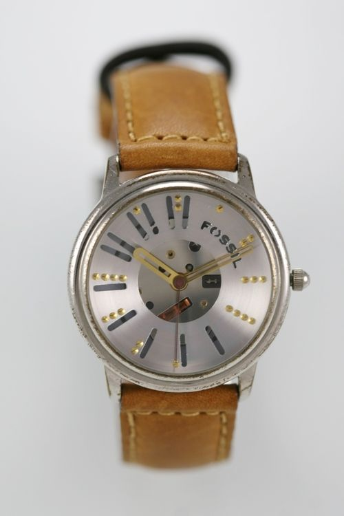 Fossil Skeleton Watch Mens Stainless Silver Water Resistant Leather Brown Quartz