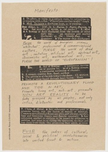 """Fluxus Manifesto,"" 1963. Offset lithograph. Edited, designed, and produced by George Maciunas."