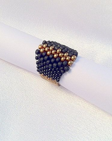 Woman's jewelry - Black and Gold Peyote beaded ring, best quality seed beads - artistic beaded ring -   Elegant black ring