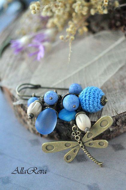 """Brooch handmade. Fair Masters - handmade. Buy Brooch """"Blue Dragonfly"""". Handmade. Blue, dragonfly brooch"""