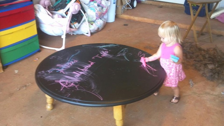 Table I found.  Cut the legs down and add a little chalkboard Paint and BINGO!