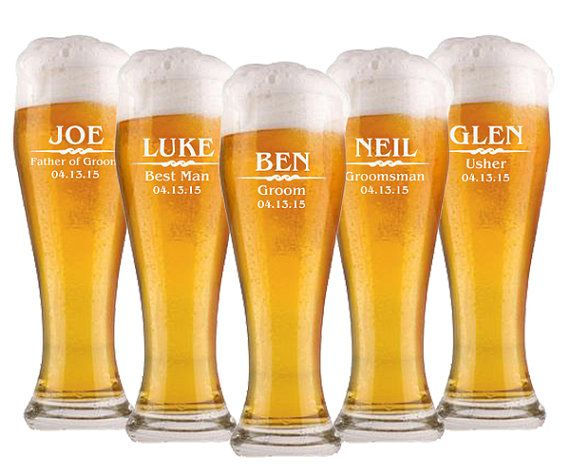 Groomsmen Gifts, 7 Personalized Beer Glasses, Custom Wedding Favors, Father of the Bride Gift, Gifts for Groomsmen, Personalized Glasses on Etsy, $73.50