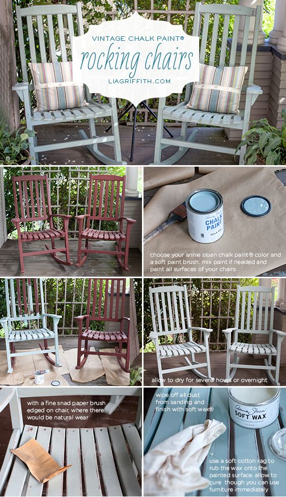 How to Paint Rocking Chairs Tutorial with Duck Egg Blue Chalk Paint® and Clear Soft Wax | Lia Griffith