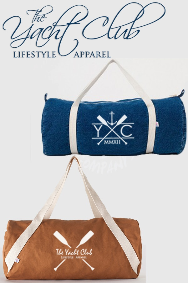 """Exclusive: The Yacht Club Duffle Bag Collection  This lightweight but durable duffle bag is made of soft bull denim. Perfect for traveling and yachting, an fashionable accessory for your getaways.  - Bull Denim (100% Woven Cotton) construction   - Bag Dimensions: 22"""" X 10 1/2"""" (55.8cm X 2 6.7cm)   - Pocket Dimensions: 9 1/2"""" X 8"""" (24.13cm X 20.32cm)   - Matching Polyester zipper closure   - Side matching zipper pocket   - Dual handles    #YachtClub #Dufflebag #Luxury #Travel #Luggage #Bag"""