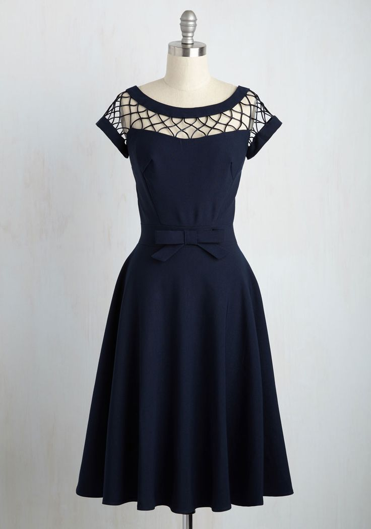 With Only a Wink A-Line Dress in Navy. You pride yourself upon being a lady of style and sophistication. #blue #bridesmaid #modcloth