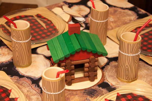 Lincoln logs for table centerpiece- Lumberjack party