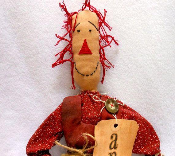 Примитивная Кукла Энни в темно-красное платье с рисунком, тряпичная Кукла, тряпичная Энни, Домашний Декор