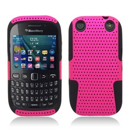 awesome Blackberry Curve Cases | Aimo Wireless BB9310PCPA005 Hybrid Armor Cheeze Case for BlackBerry Curve 9310 - Retail Packaging - Black/Hot Pink