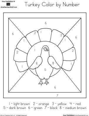 turkey color by number very easymy 3 year old is in love number worksheetsprintable - Printable Activities For 8 Year Olds