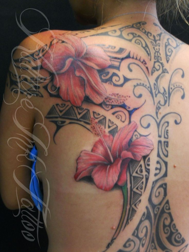 Hibiscus  Flowers with Tahitian Design by Kulture Ink Tattoo....  Learn more at the picture link